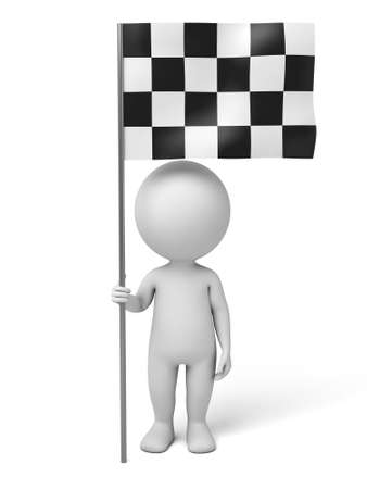 The 3d guy and a chequered flag