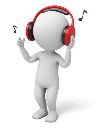 escuchando musica: El tipo 3d está escuchando música con los auriculares