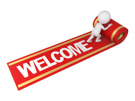 greet: The 3d guy and a red carpet which the word WELCOME in it