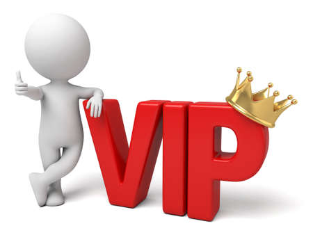 distinguished: The 3D guy and VIP  word