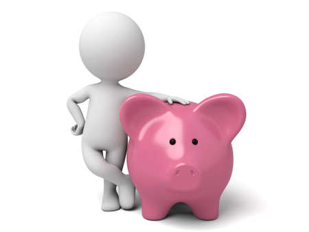 bank deposit: The 3D guy and a piggy bank Stock Photo
