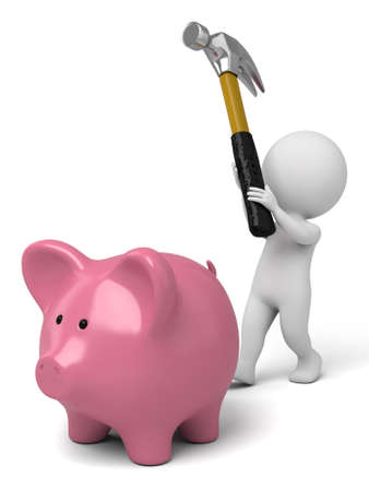 The 3D guy and a piggy bank Stok Fotoğraf
