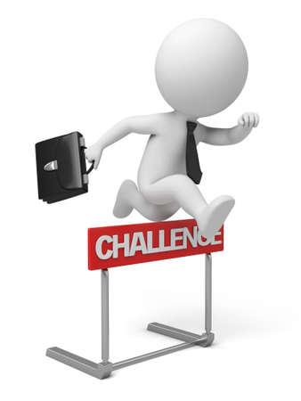 De 3D-guy springen over een hindernis obstakel titel uitdaging Stockfoto