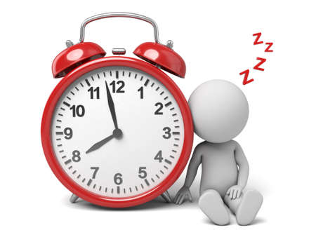 gente durmiendo: El tipo 3D y un reloj