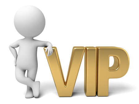 distinguished: The 3D guy and a written  VIP  of slogan