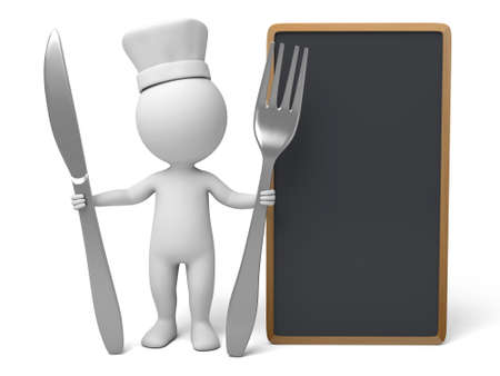 chef 3d: The 3D guy is a chef Stock Photo