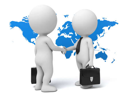 transnational: Two 3d people are shaking hands