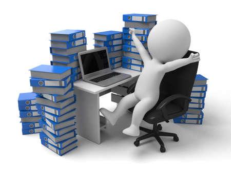 Le gars 3D fait des heures supplémentaires Banque d'images - 49071525