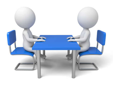 men talking: The two 3D people sit together and chat