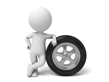 3d guy: The 3D guy and a tire
