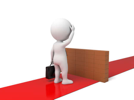 barrier: The 3D guy crossed a barrier Stock Photo