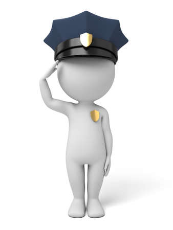 an obeisance: The 3D guy is a policeman Stock Photo