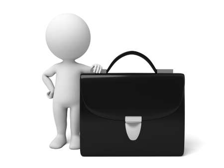 folio: The 3D guy and a briefcase Stock Photo