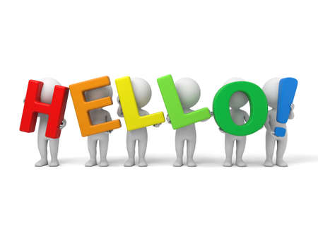 politeness: The 3d guy and a sign of  HELLO