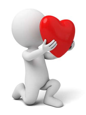 enamorados caricatura: El chico 3D y un corazón
