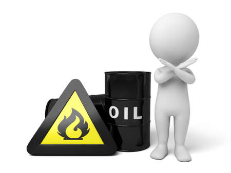 dangerous man: The 3D guy and a barrel of oil Stock Photo