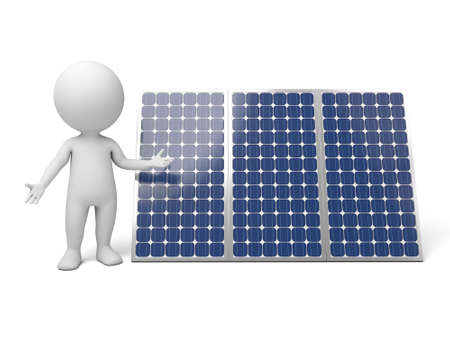 solar cells: The 3D guy and solar panel Stock Photo