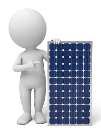 3d guy: The 3D guy and solar panel Stock Photo