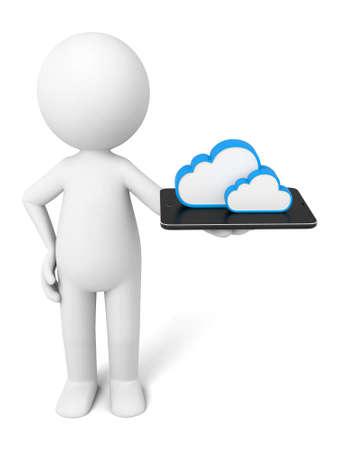 3d guy: 3D guy and a cloud data symbols