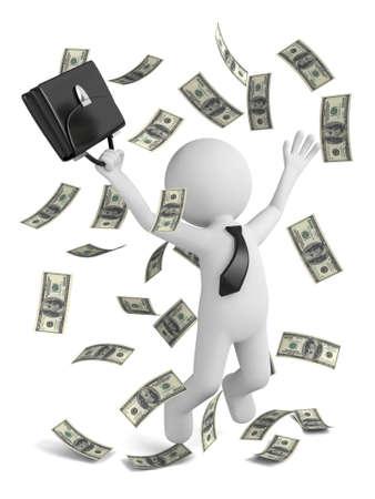 mucho dinero: Individuo 3D y un montón de dinero Foto de archivo