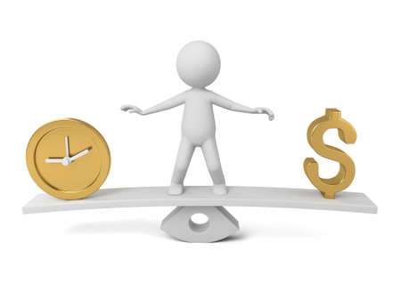 character abstract: 3D guy and dollar sign and a clock model