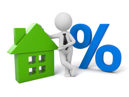 3D guy and a house model and a percentage sign Banque d'images