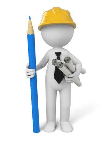 3D architect and some blueprints Zdjęcie Seryjne - 49668448