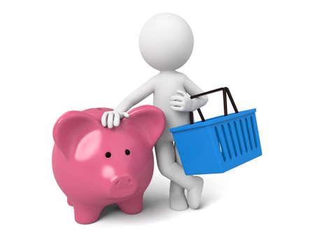 3D guy and a piggy bank