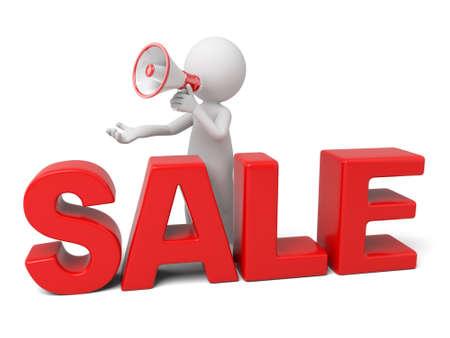 3D guy promoting sale using megaphone Stock Photo