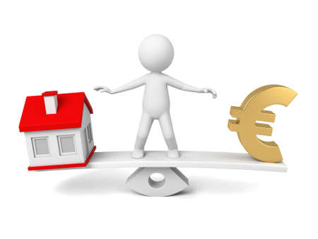 housing prices: 3D guy and a house model and a euro sign