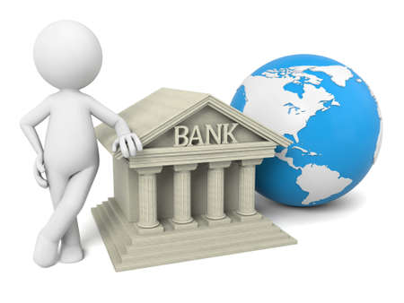 3D guy standing next to bank and globe Banco de Imagens