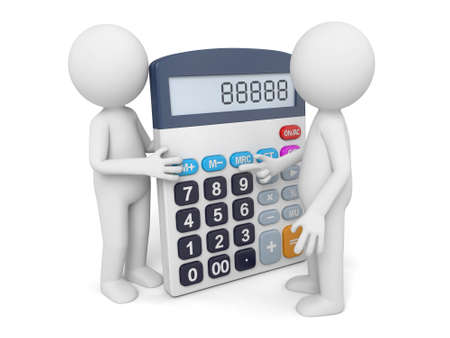 3d guy: 3D guy and a calculator Stock Photo