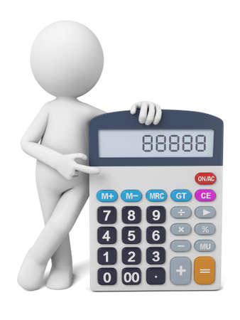 number of people: 3D guy and a calculator Stock Photo