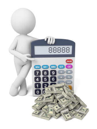 3D guy and a calculator Stok Fotoğraf