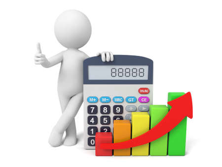businesses: 3D guy and a calculator Stock Photo