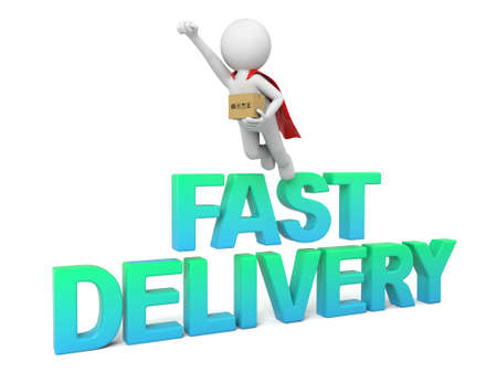 3D guy and the word fast delivery