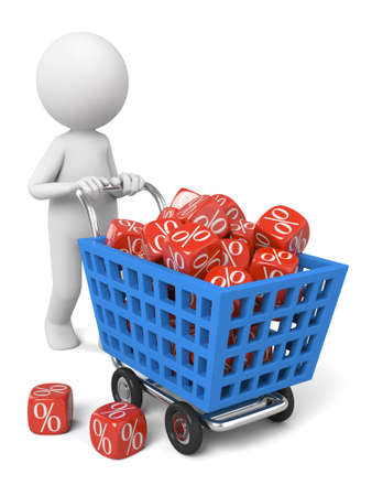dices in 3d guys shopping cart