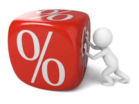 rebate: 3D guy pushing a dice with percentage sign on it Stock Photo
