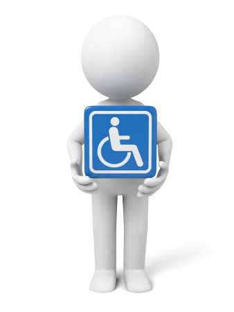 cartoon wheelchair: 3D guy and disable sign
