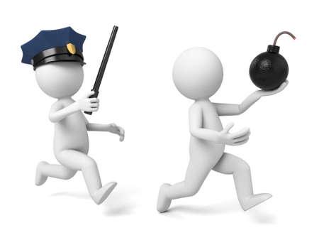 policeman: A 3d policeman is chasing  terrorist