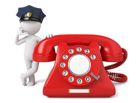 A 3d policeman and a telephone
