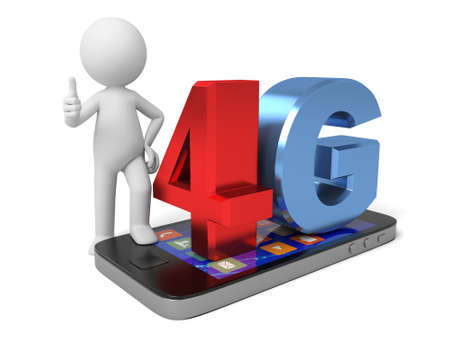 4g: 3D guy with 4g phone Stock Photo
