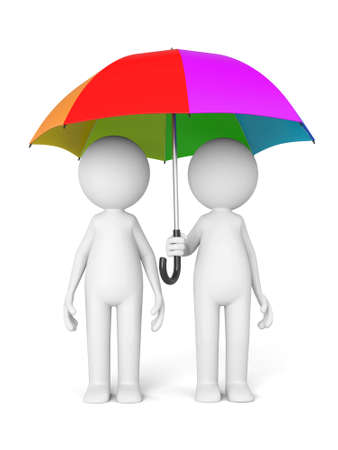fellows: 3D guy and a colorful umbrella