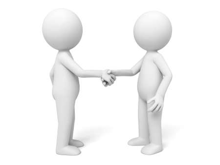 3d: Two 3d people handshake Stock Photo