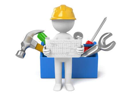 arquitecto caricatura: Un arquitecto 3D y una caja de herramientas