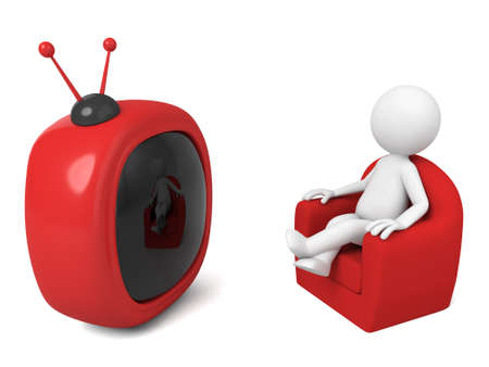 watching tv: 3D guy is watching TV Stock Photo