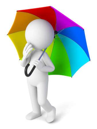 Individuo 3D y un paraguas de colores Foto de archivo - 49684938