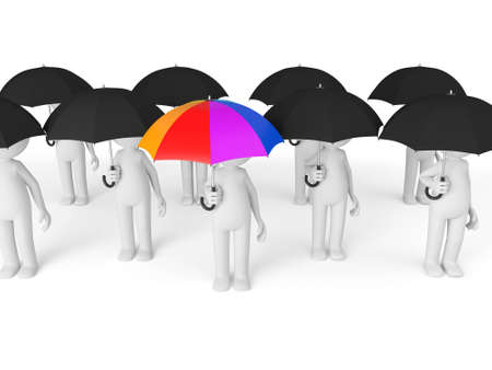A group of 3d people with an umbrella 版權商用圖片