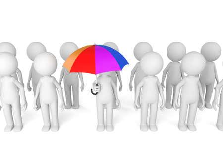 Un grupo de personas 3D con un paraguas Foto de archivo - 49684942