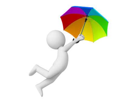 Individuo 3D y un paraguas de colores Foto de archivo - 49684943
